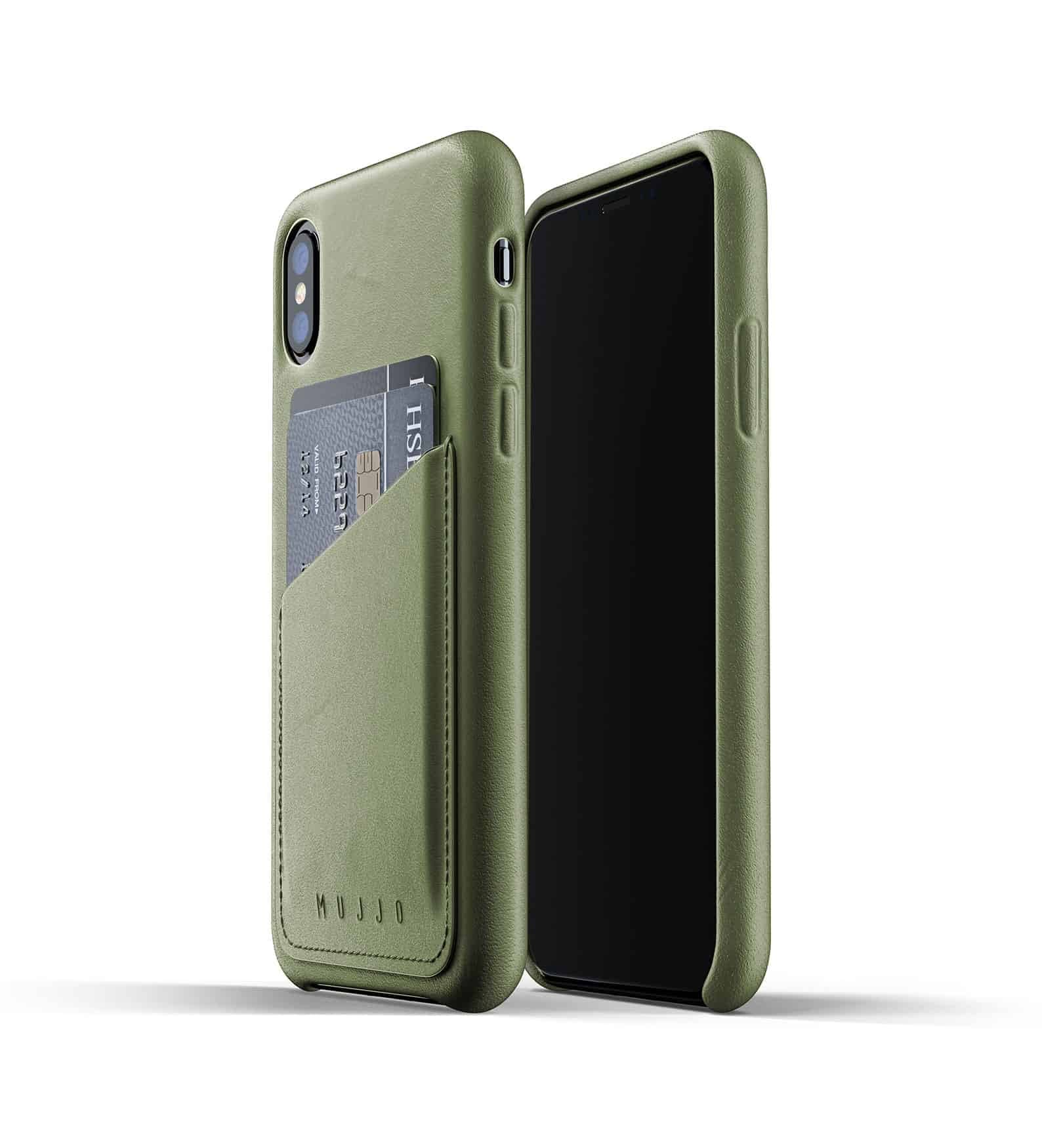 Full leather wallet case for iPhone Xs Olive Thumbnail 01