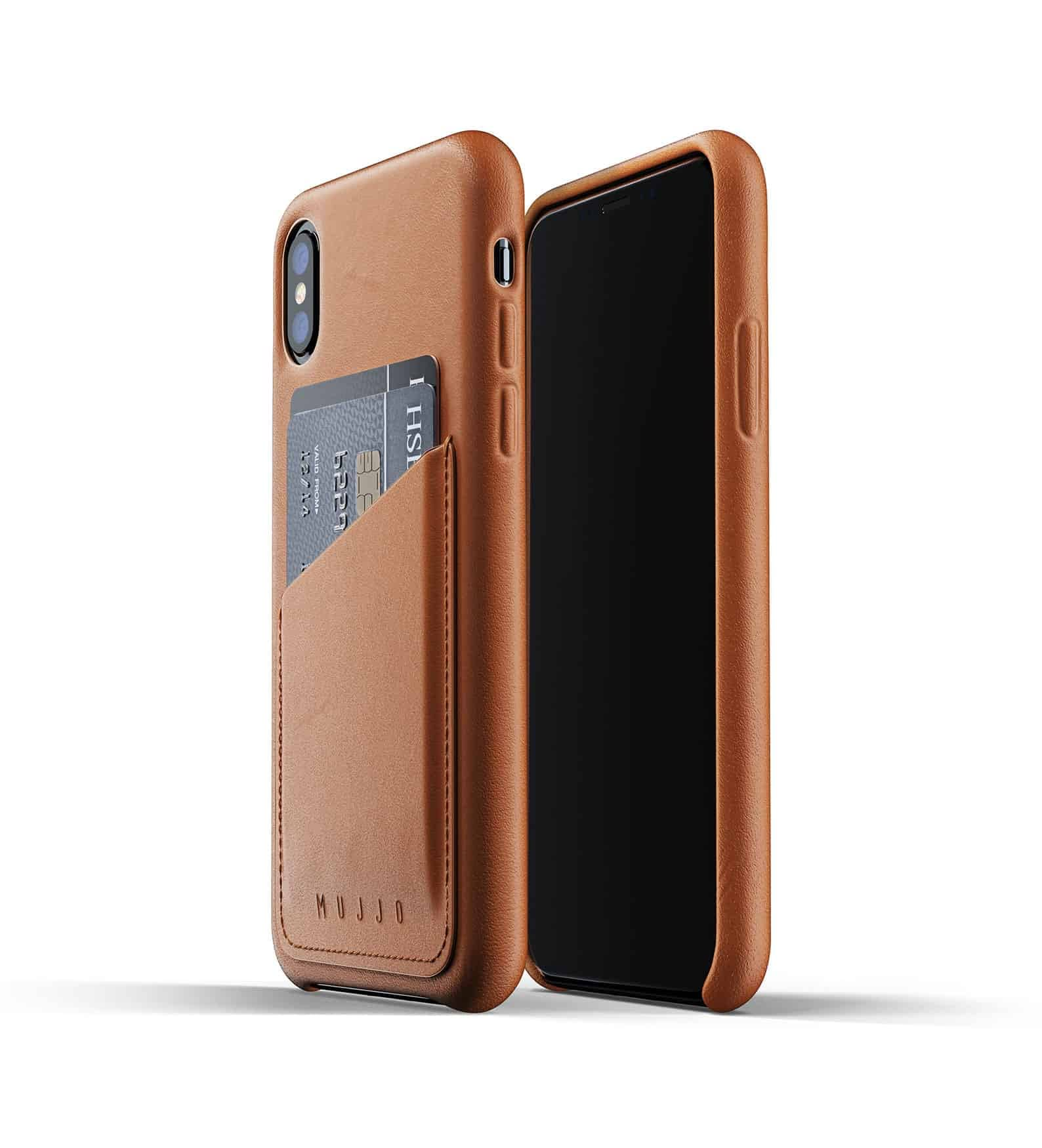 Full leather wallet case for iPhone Xs Tan Thumbnail 01