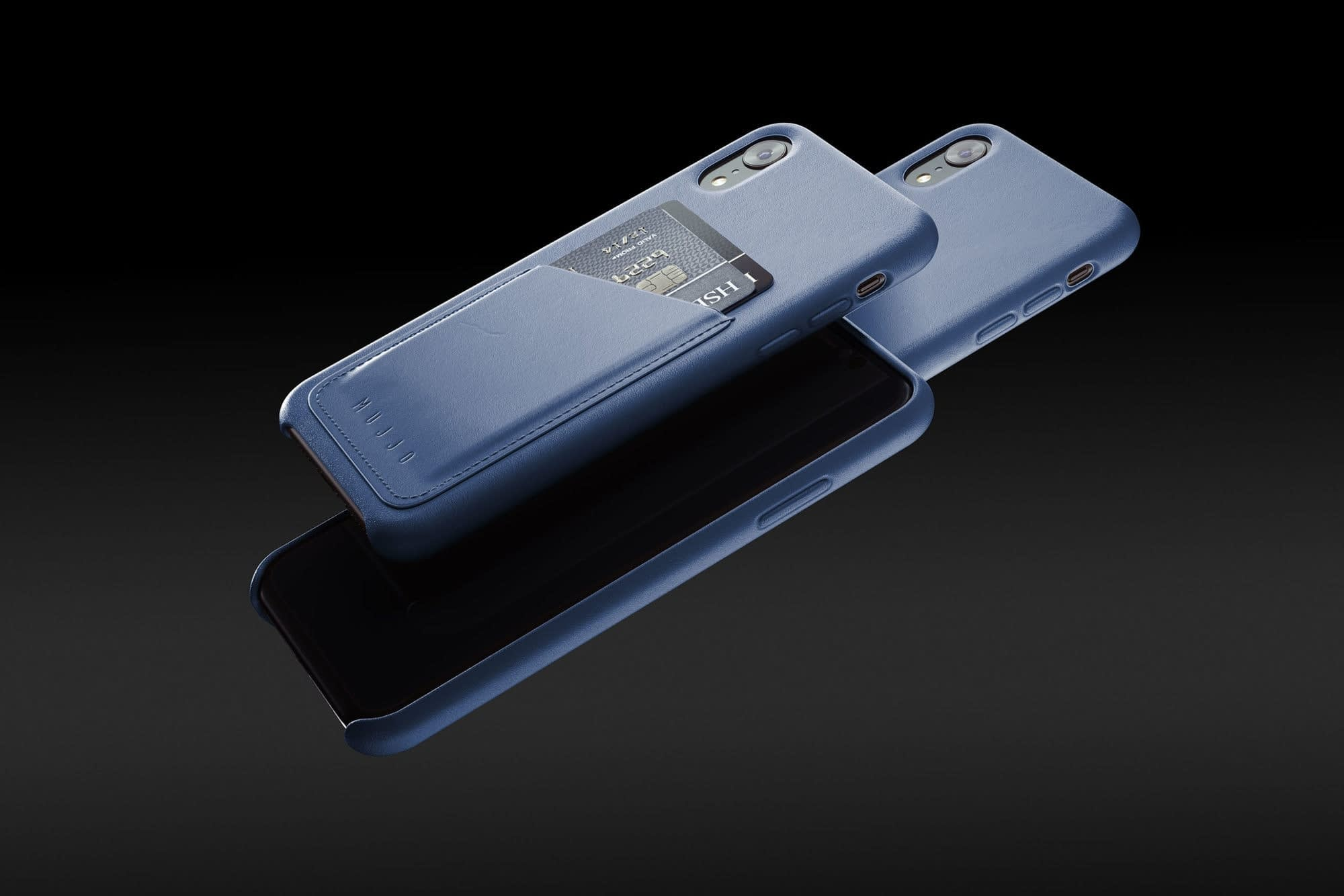 Full leather wallet case for iPhone Xr Blue 01