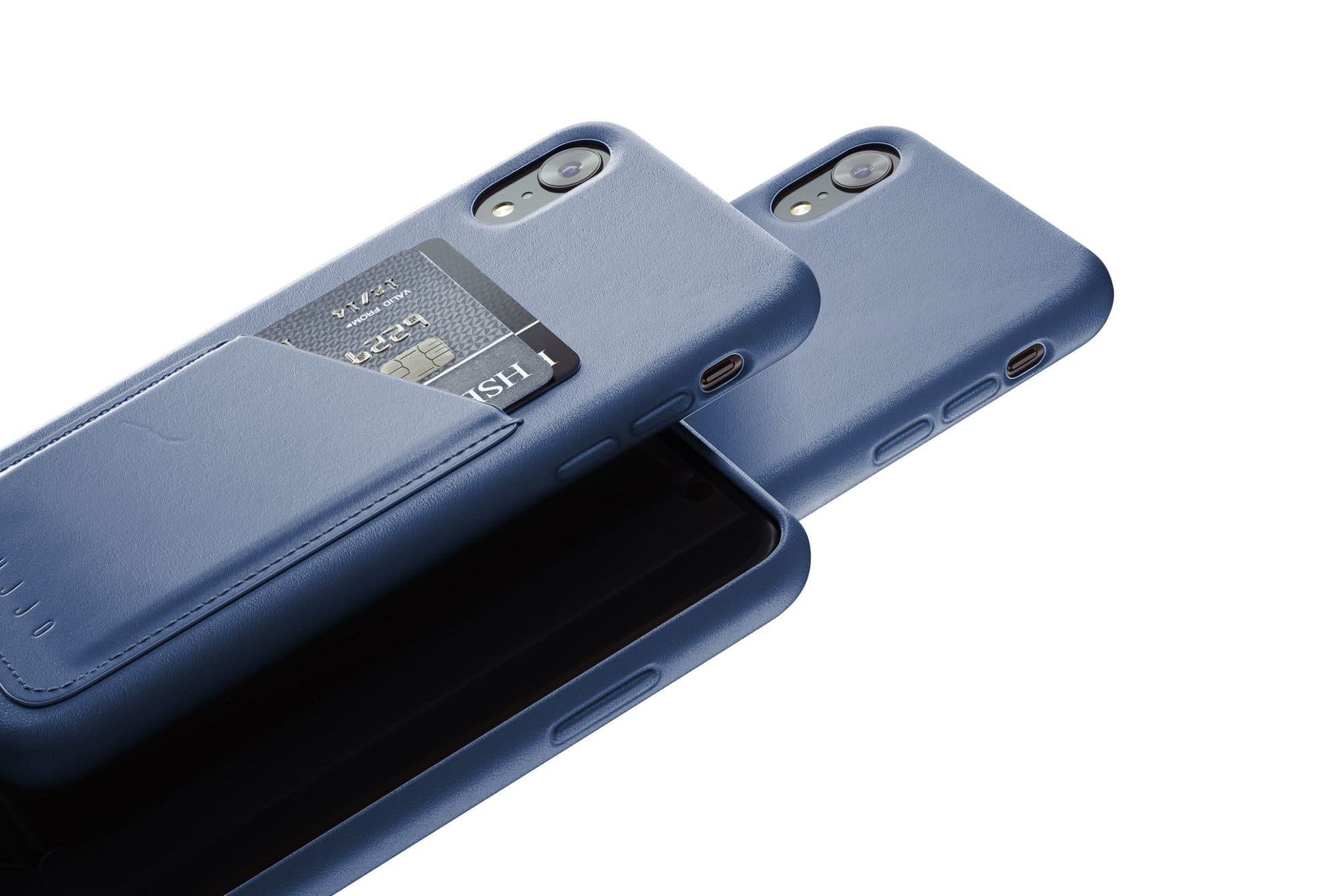 Full leather wallet case for iPhone Xr Blue 02