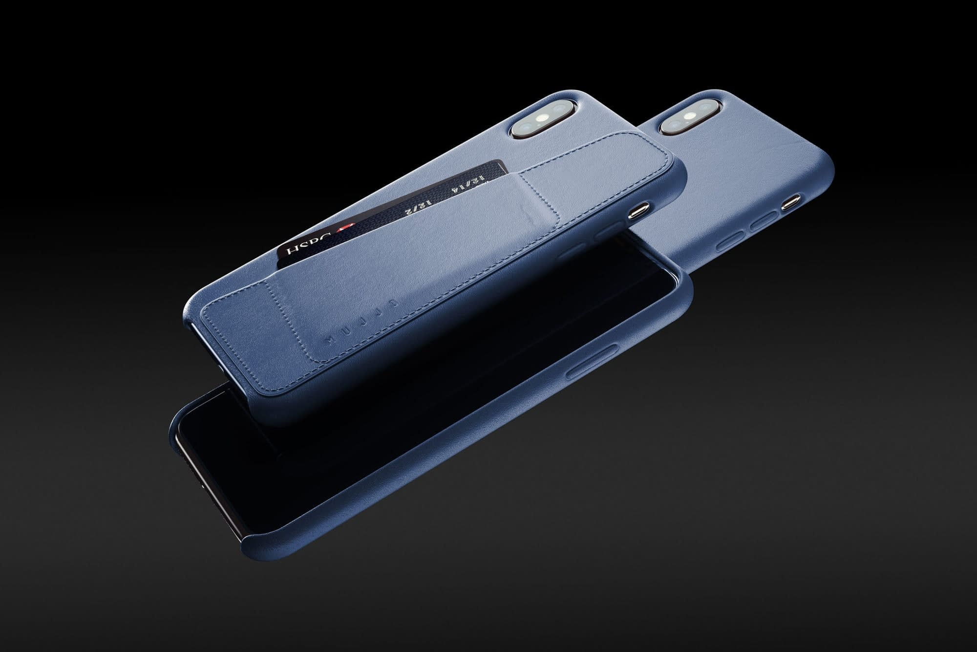 Full leather wallet case for iPhone Xs Max Blue 01