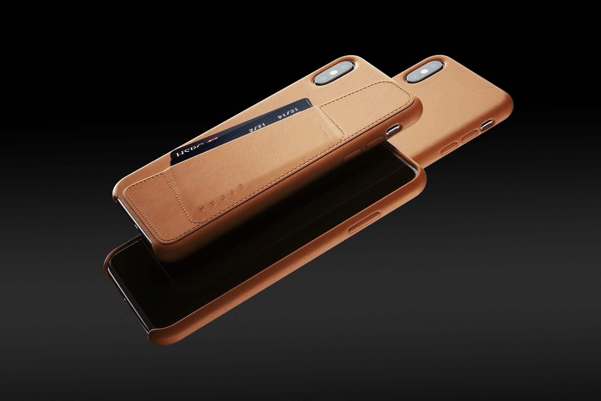 Full leather wallet case for iPhone Xs Max Tan 01