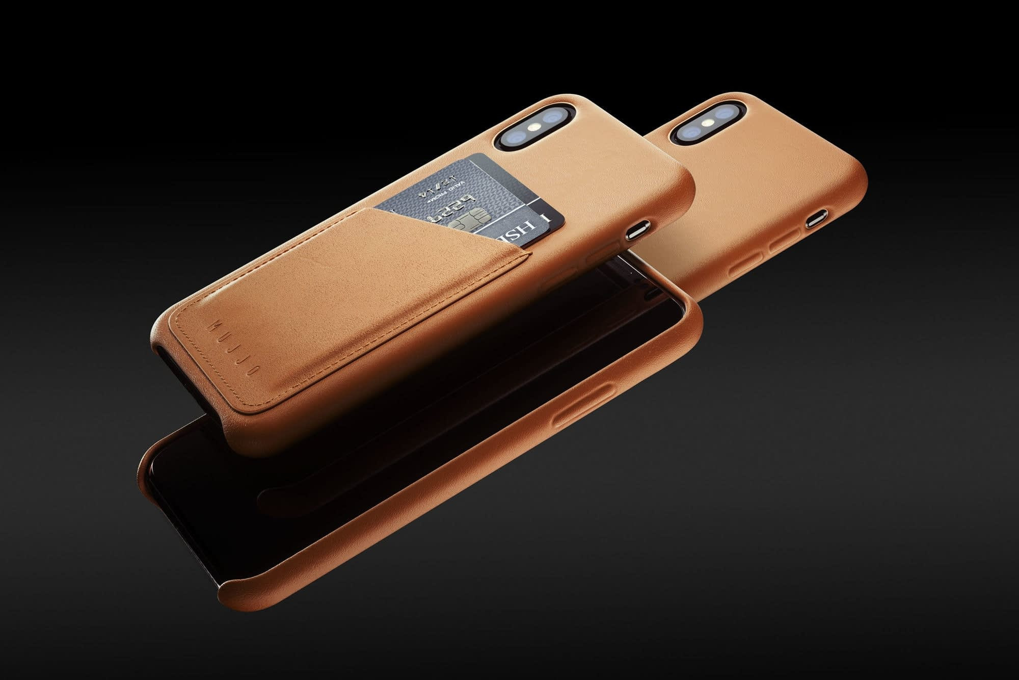 Full leather wallet case for iPhone Xs Tan 01