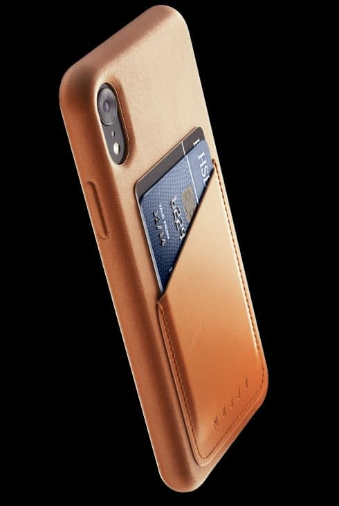 full leather wallet case for iphone Xr tan 002
