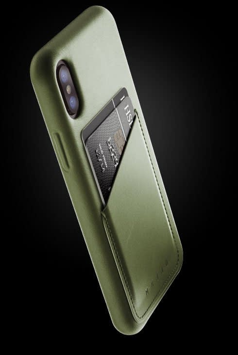 full leather wallet case for iphone Xs olive 002
