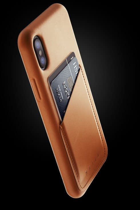 full leather wallet case for iphone Xs tan 002