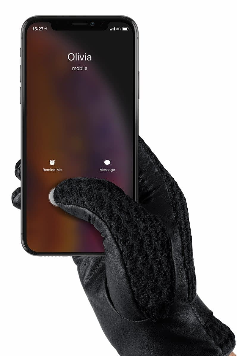 leather crochet touchscreen gloves thumbnail