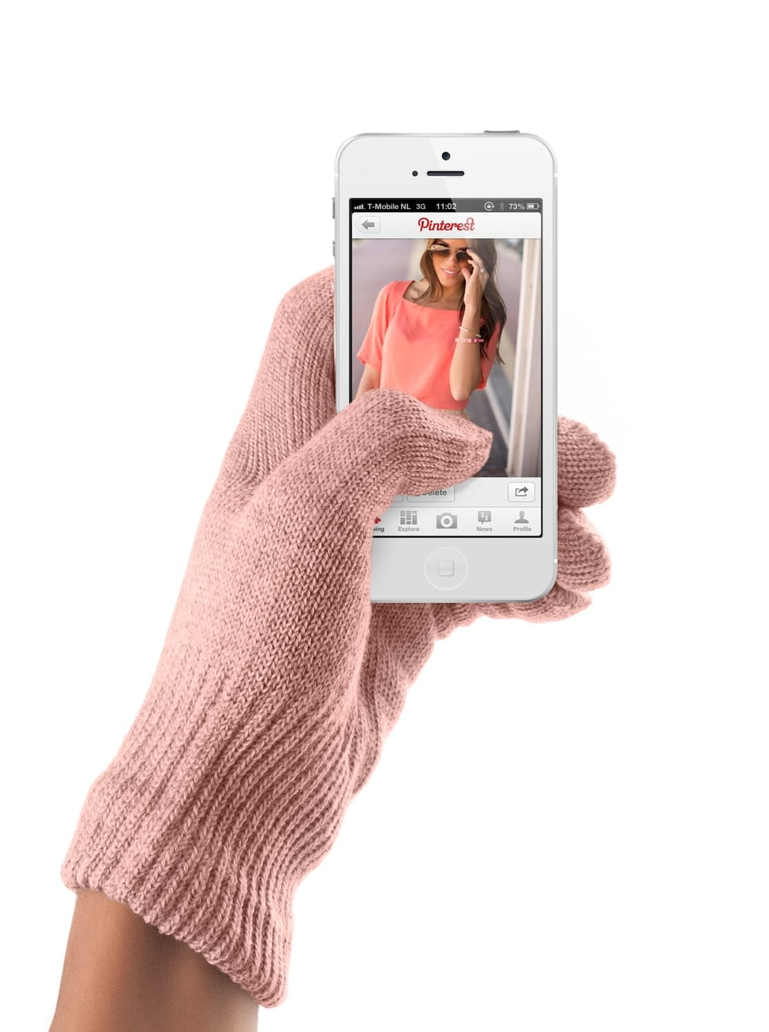touchscreen gloves coral pink 01