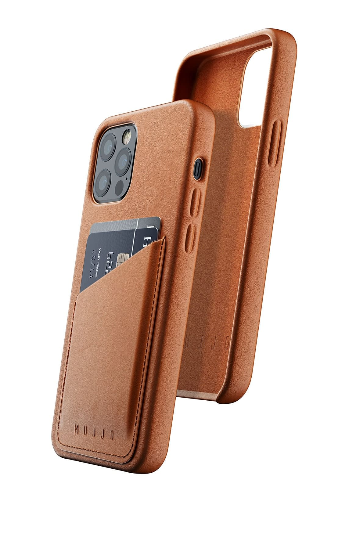 Full Leather Wallet Case for iPhone 12 12 Pro Tan 01