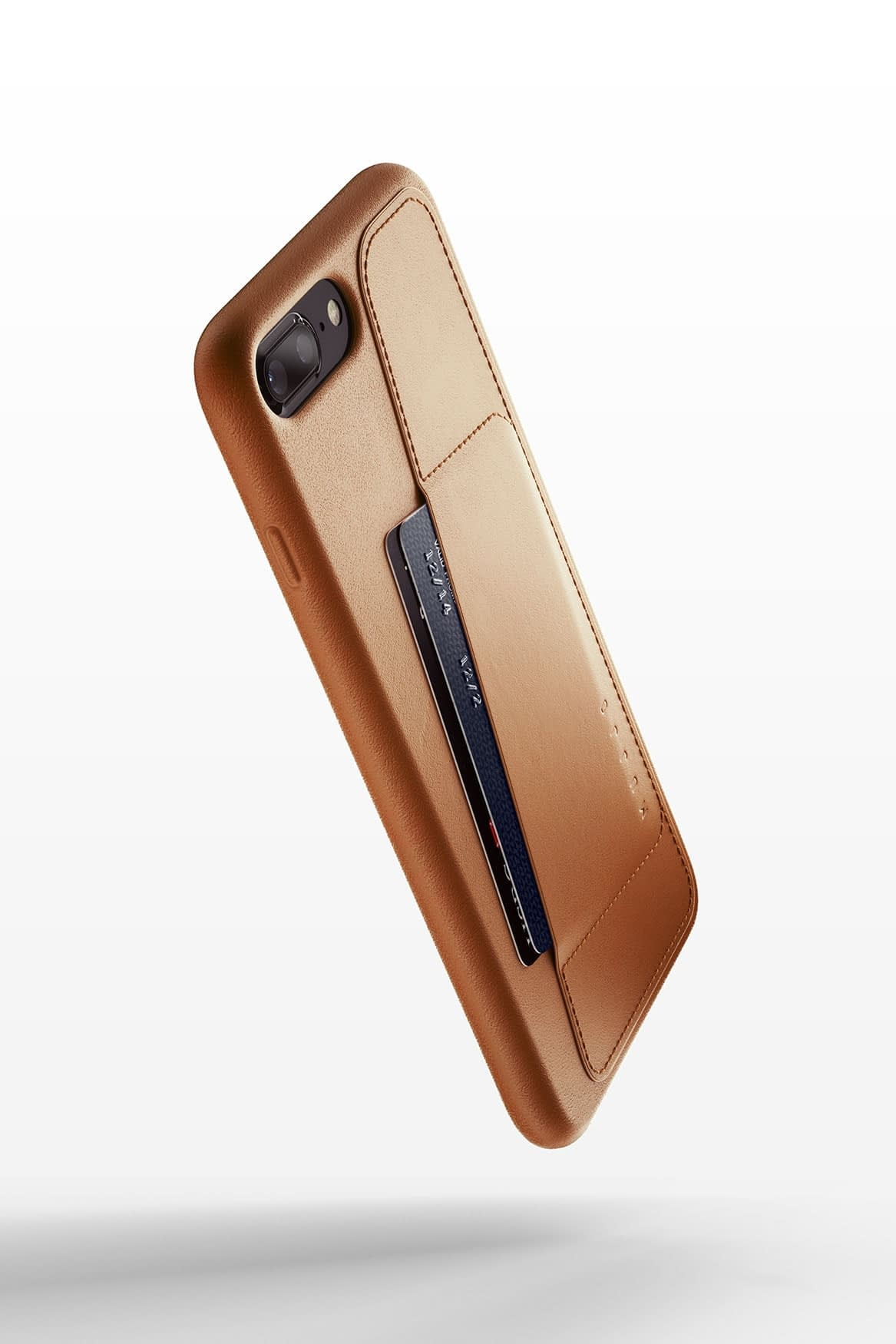 Full leather wallet case for iPhone 8 Plus Tan 01