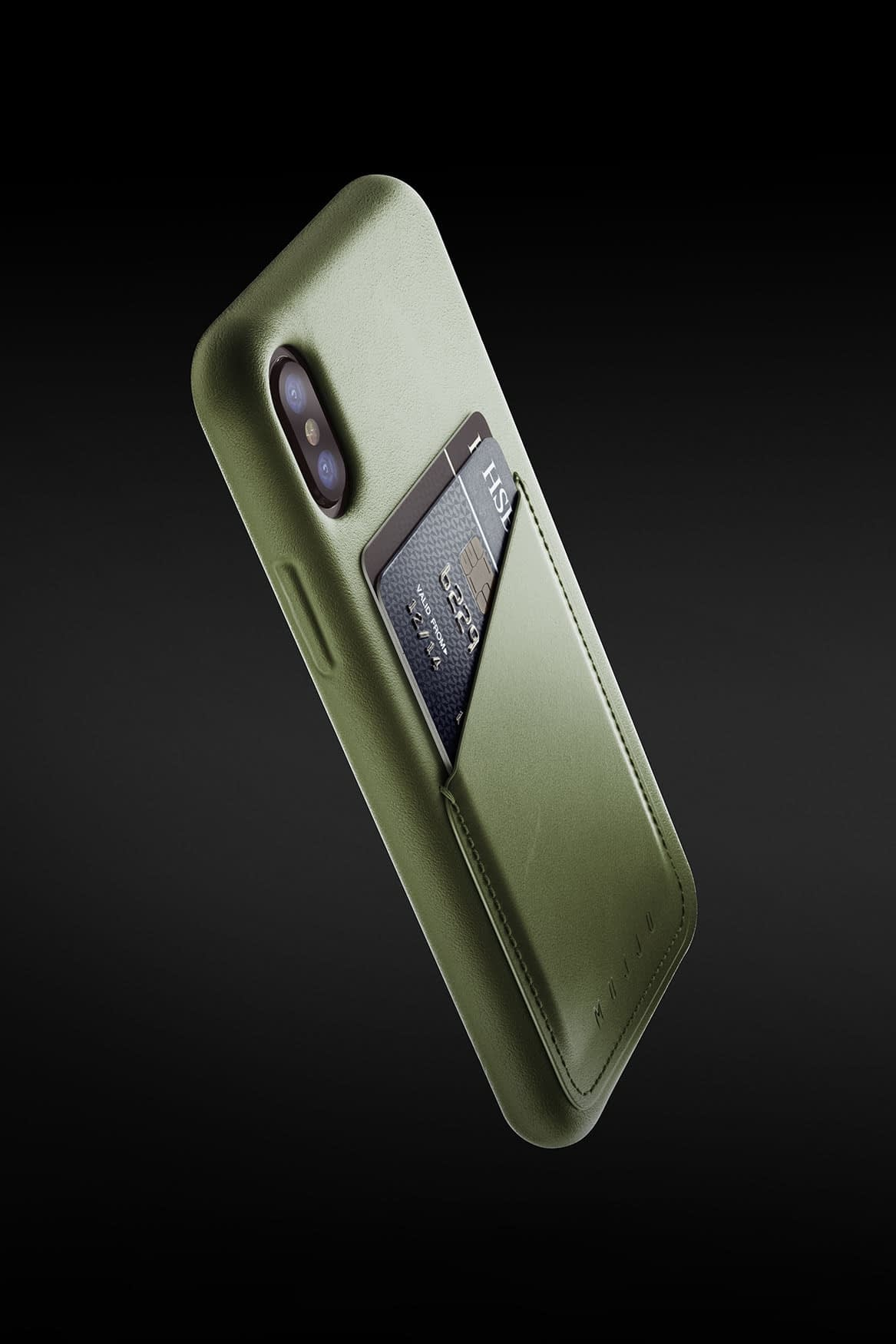 Full leather wallet case for iPhone X Olive 05 1