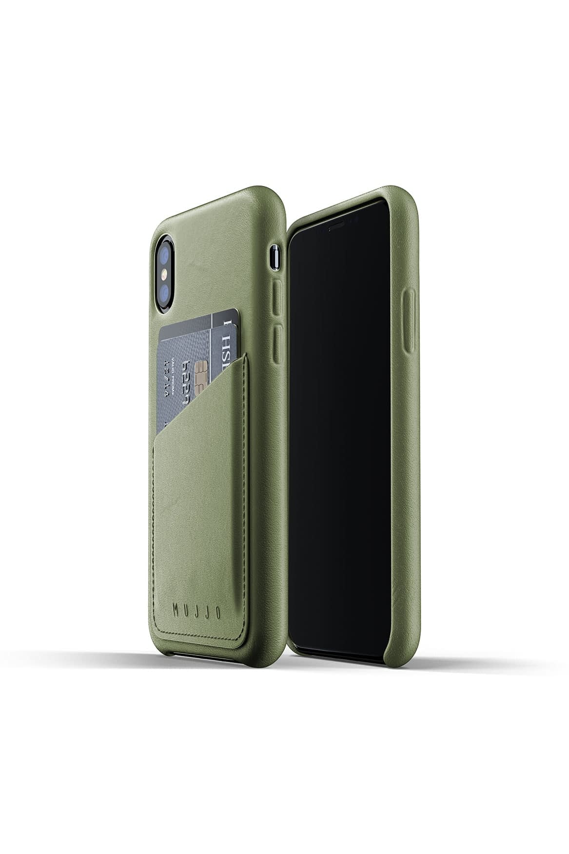 Full leather wallet case for iPhone Xs Olive Packshot 01