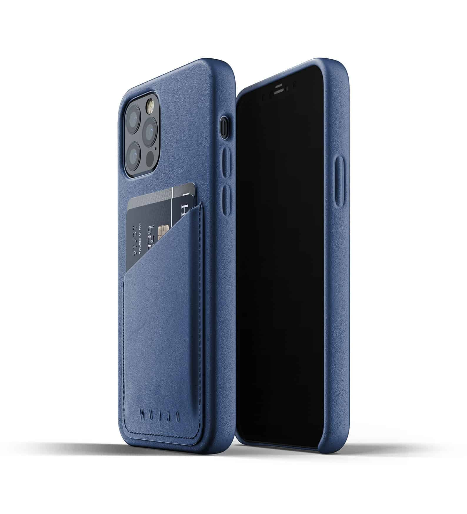 Full Leather Wallet Case for iPhone 12 Pro Monaco Blue Thumbnail 01