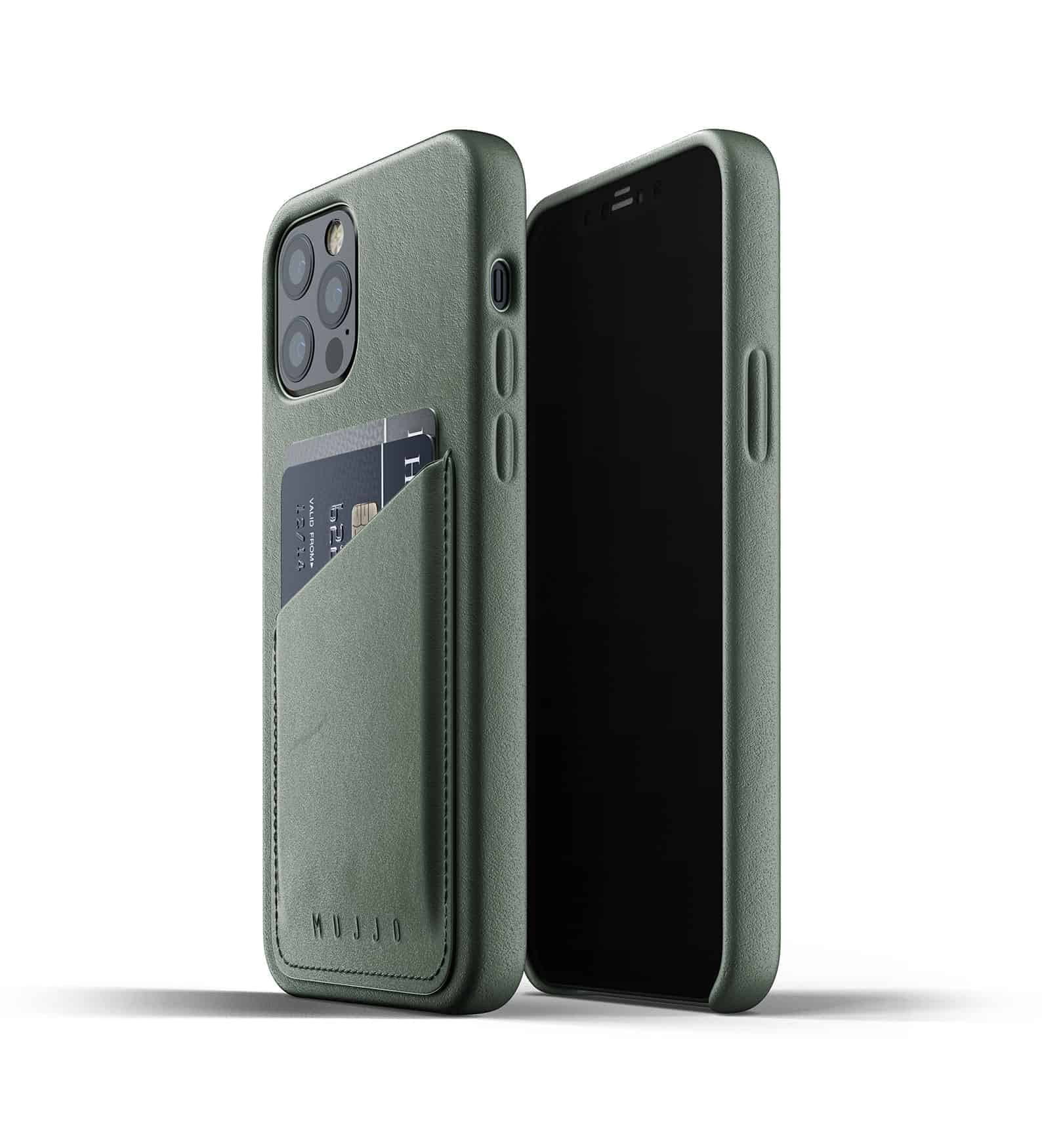Full Leather Wallet Case for iPhone 12 Pro Slate Green Thumbnail 01