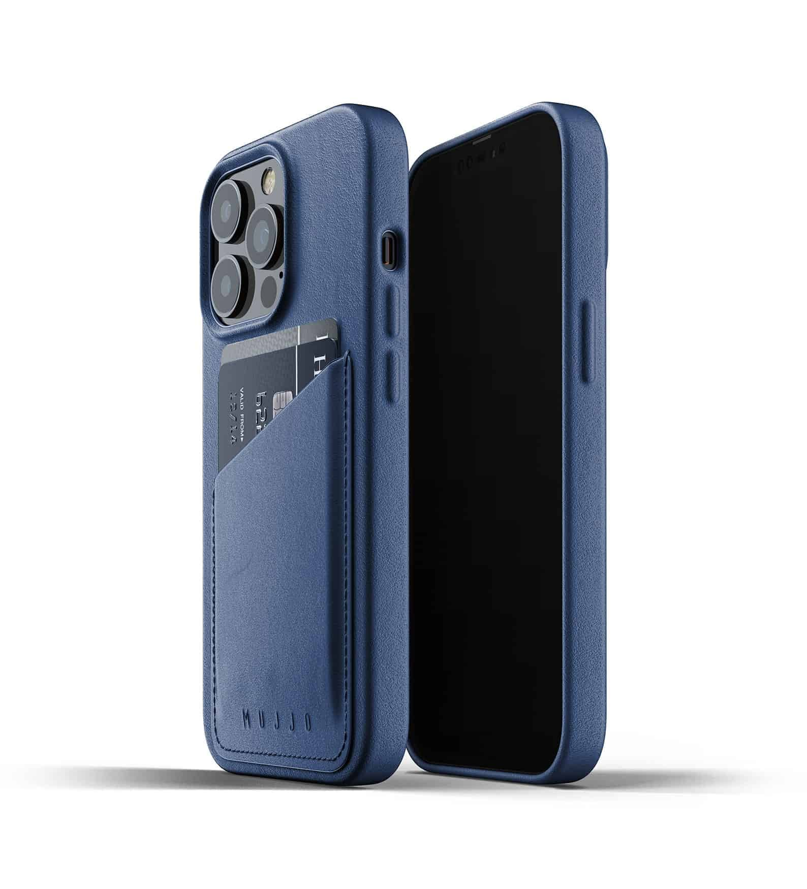 Full Leather Wallet Case for iPhone 13 Pro Monaco Blue Thumbnail 01