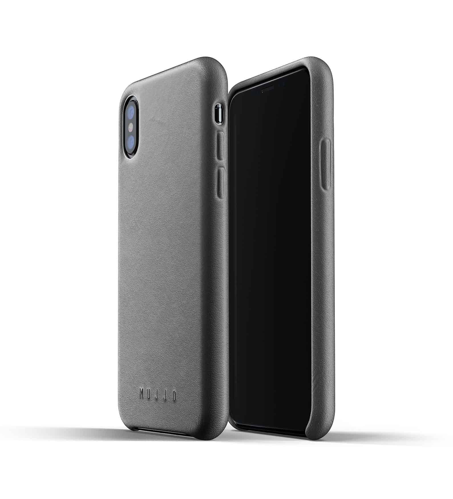 Full leather case for iPhone Xs Gray Thumbnail 01