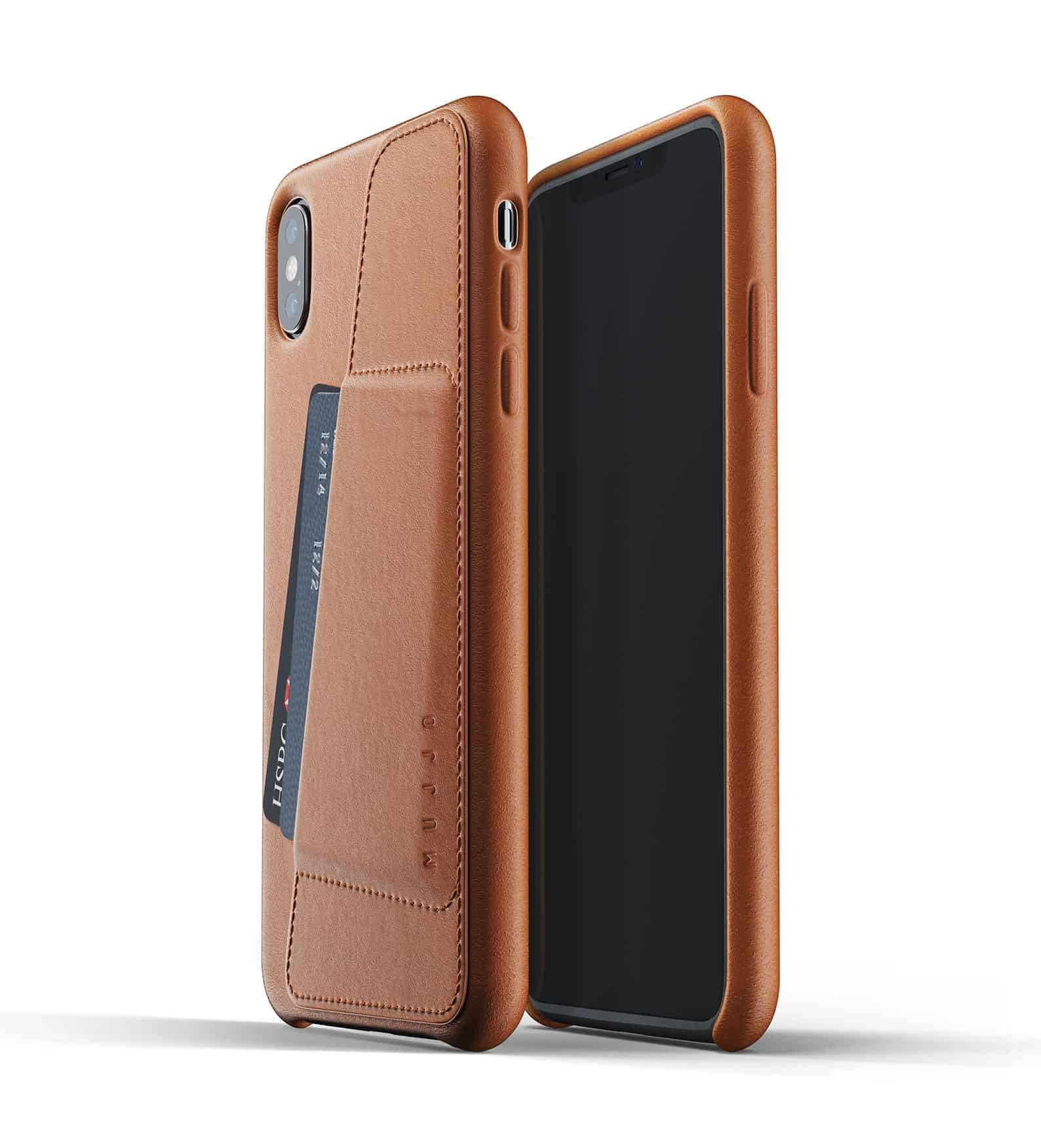 Full leather wallet case for iPhone Xs Max Tan Thumbnail 01