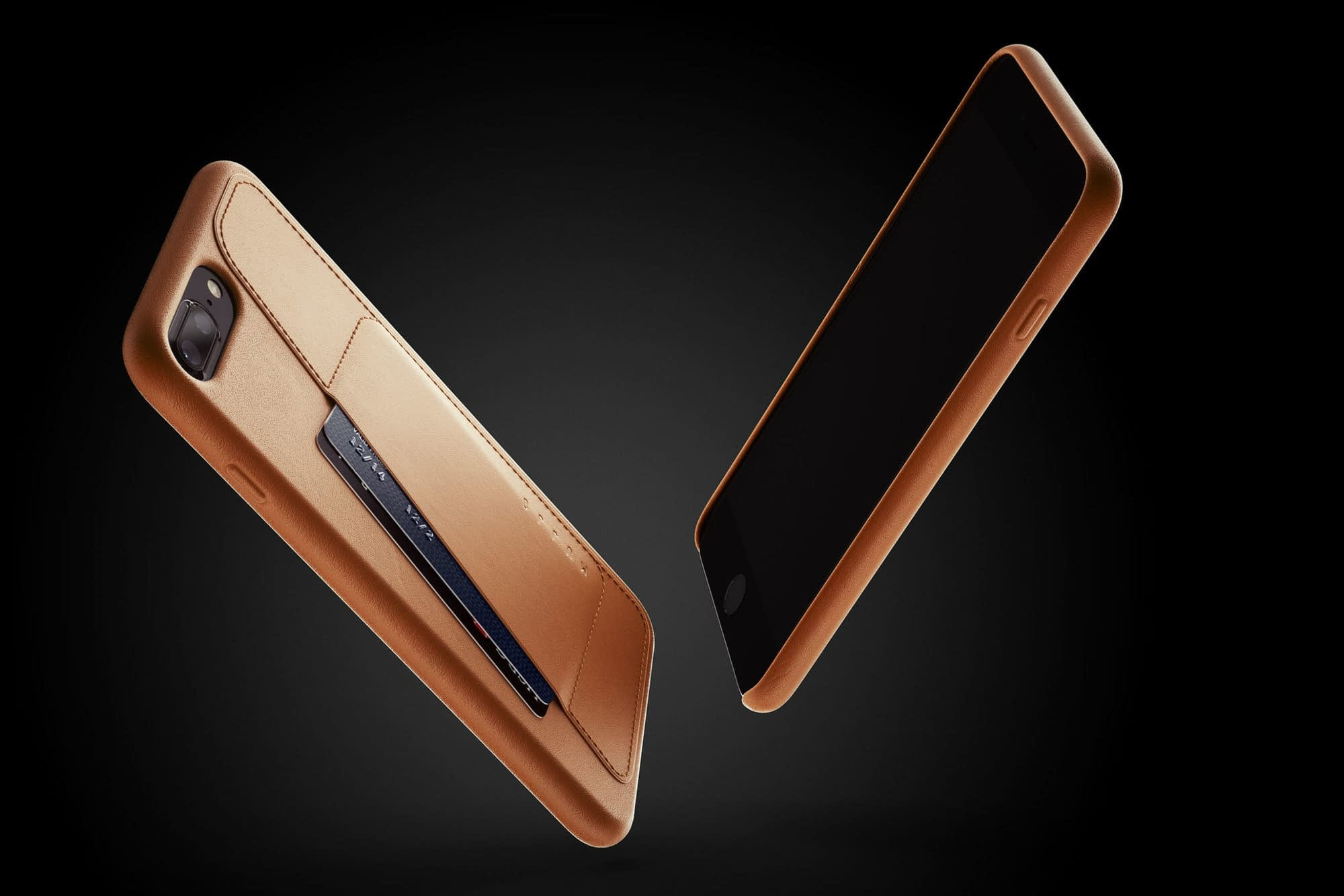 Full leather wallet case for iPhone 8 Plus Tan 03