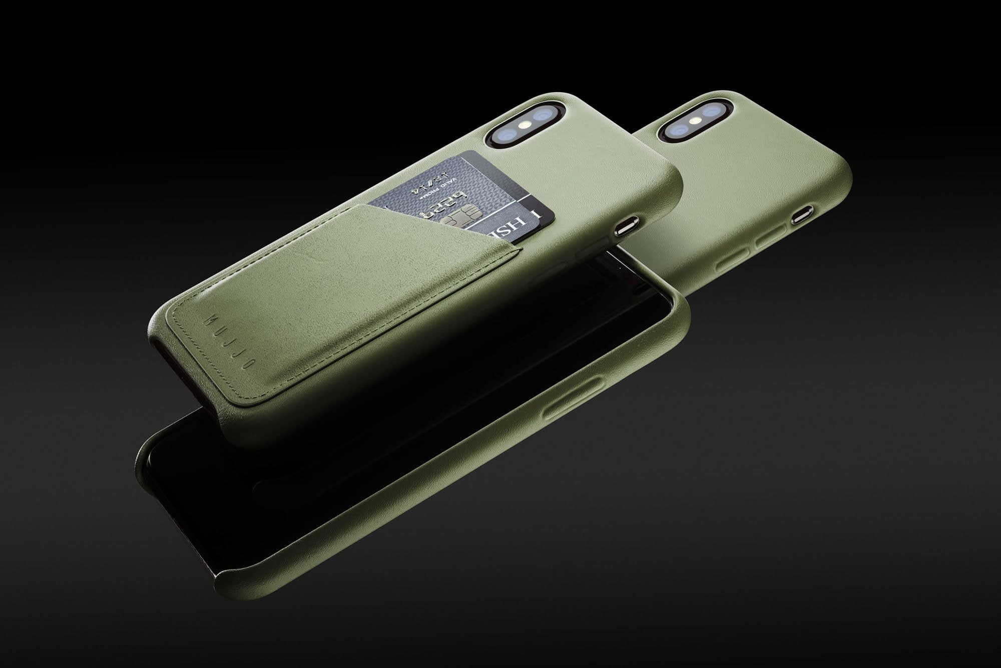 Full leather wallet case for iPhone Xs Olive 01 1