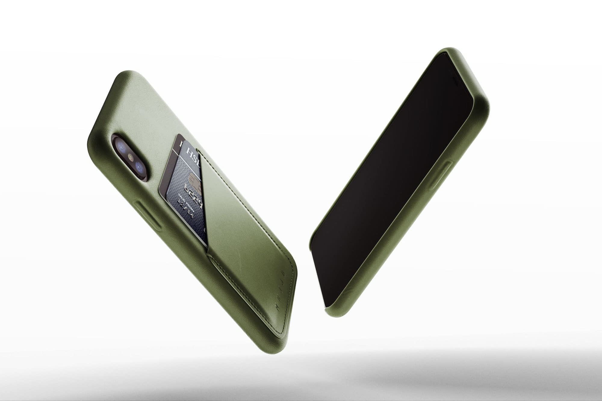 Full leather wallet case for iphone x Olive 01